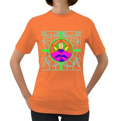 Pattern Template Stained Glass Women s Dark T-Shirt