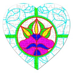 Pattern Template Stained Glass Jigsaw Puzzle (Heart)