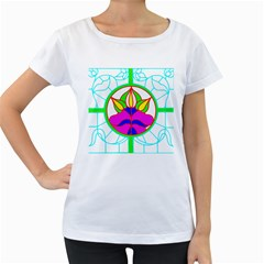 Pattern Template Stained Glass Women s Loose-Fit T-Shirt (White)