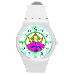 Pattern Template Stained Glass Round Plastic Sport Watch (m)