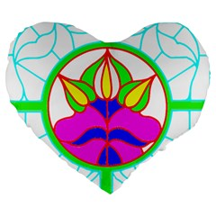 Pattern Template Stained Glass Large 19  Premium Heart Shape Cushions