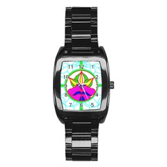 Pattern Template Stained Glass Stainless Steel Barrel Watch