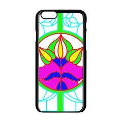 Pattern Template Stained Glass Apple iPhone 6/6S Black Enamel Case
