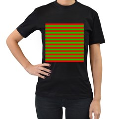 Pattern Lines Red Green Women s T-Shirt (Black) (Two Sided)