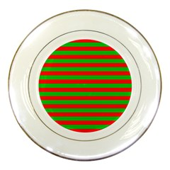 Pattern Lines Red Green Porcelain Plates