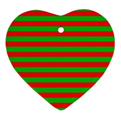 Pattern Lines Red Green Heart Ornament (Two Sides)