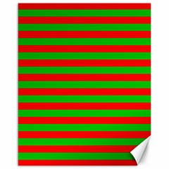 Pattern Lines Red Green Canvas 16  x 20