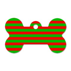 Pattern Lines Red Green Dog Tag Bone (Two Sides)