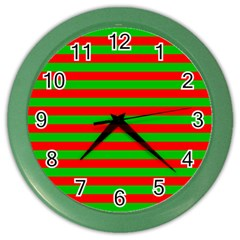 Pattern Lines Red Green Color Wall Clocks
