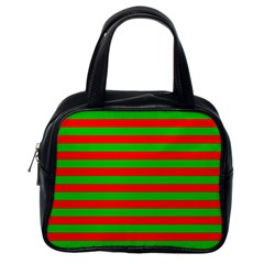 Pattern Lines Red Green Classic Handbags (One Side)