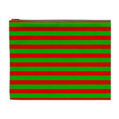 Pattern Lines Red Green Cosmetic Bag (XL)