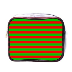 Pattern Lines Red Green Mini Toiletries Bags