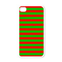 Pattern Lines Red Green Apple iPhone 4 Case (White)