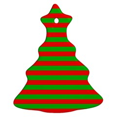 Pattern Lines Red Green Christmas Tree Ornament (Two Sides)