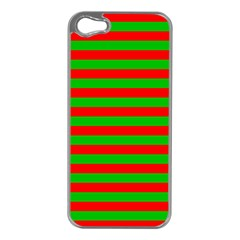 Pattern Lines Red Green Apple iPhone 5 Case (Silver)