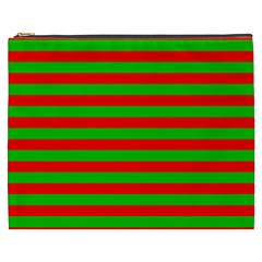 Pattern Lines Red Green Cosmetic Bag (XXXL)