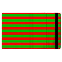 Pattern Lines Red Green Apple iPad 3/4 Flip Case