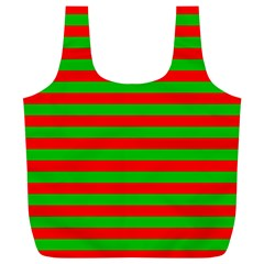Pattern Lines Red Green Full Print Recycle Bags (L)