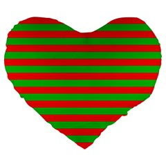 Pattern Lines Red Green Large 19  Premium Flano Heart Shape Cushions