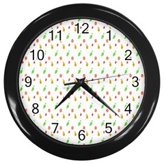 Fruit Pattern Vector Background Wall Clocks (Black)