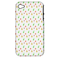 Fruit Pattern Vector Background Apple iPhone 4/4S Hardshell Case (PC+Silicone)