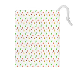 Fruit Pattern Vector Background Drawstring Pouches (Extra Large)