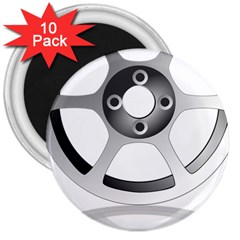 Car Wheel Chrome Rim 3  Magnets (10 pack)