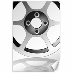 Car Wheel Chrome Rim Canvas 24  x 36