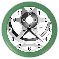 Car Wheel Chrome Rim Color Wall Clocks