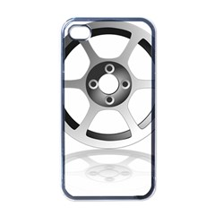 Car Wheel Chrome Rim Apple iPhone 4 Case (Black)