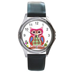 Owl Colorful Patchwork Art Round Metal Watch
