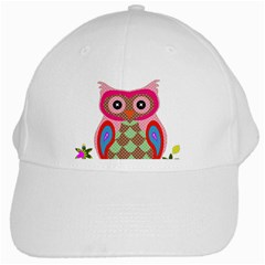 Owl Colorful Patchwork Art White Cap