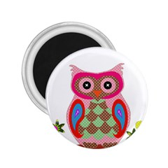 Owl Colorful Patchwork Art 2.25  Magnets