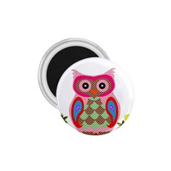 Owl Colorful Patchwork Art 1.75  Magnets