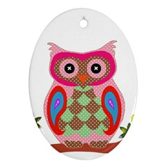 Owl Colorful Patchwork Art Ornament (Oval)