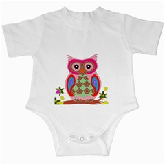 Owl Colorful Patchwork Art Infant Creepers