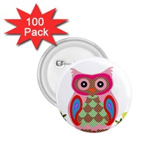 Owl Colorful Patchwork Art 1.75  Buttons (100 pack)