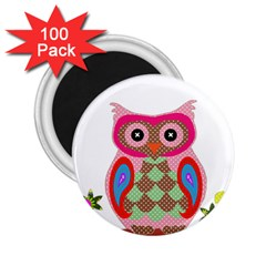 Owl Colorful Patchwork Art 2.25  Magnets (100 pack)