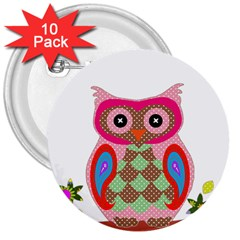 Owl Colorful Patchwork Art 3  Buttons (10 pack)