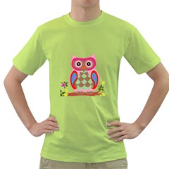 Owl Colorful Patchwork Art Green T-Shirt