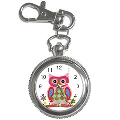 Owl Colorful Patchwork Art Key Chain Watches