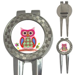 Owl Colorful Patchwork Art 3-in-1 Golf Divots
