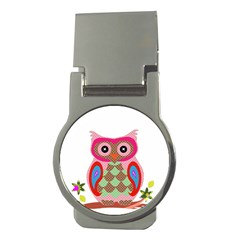 Owl Colorful Patchwork Art Money Clips (Round)
