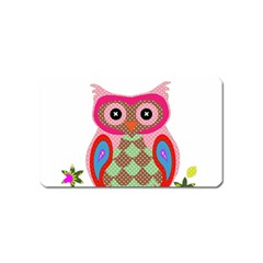 Owl Colorful Patchwork Art Magnet (Name Card)