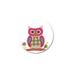 Owl Colorful Patchwork Art Golf Ball Marker (4 pack)