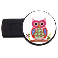Owl Colorful Patchwork Art USB Flash Drive Round (1 GB)