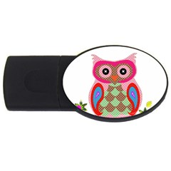 Owl Colorful Patchwork Art USB Flash Drive Oval (1 GB)