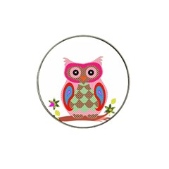 Owl Colorful Patchwork Art Hat Clip Ball Marker