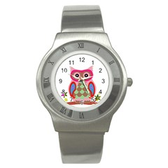 Owl Colorful Patchwork Art Stainless Steel Watch