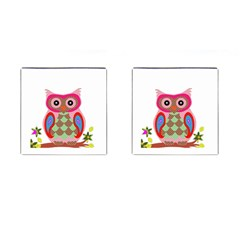 Owl Colorful Patchwork Art Cufflinks (Square)